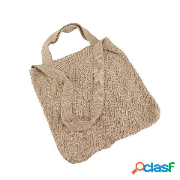 Mujer bolso de mano de alta capacidad de color sólido simple bolsa bolso