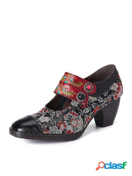 Socofy correa de hebilla de cuentas con estampado de flores retro piel genuina zapatos de tacón bajo con cremallera