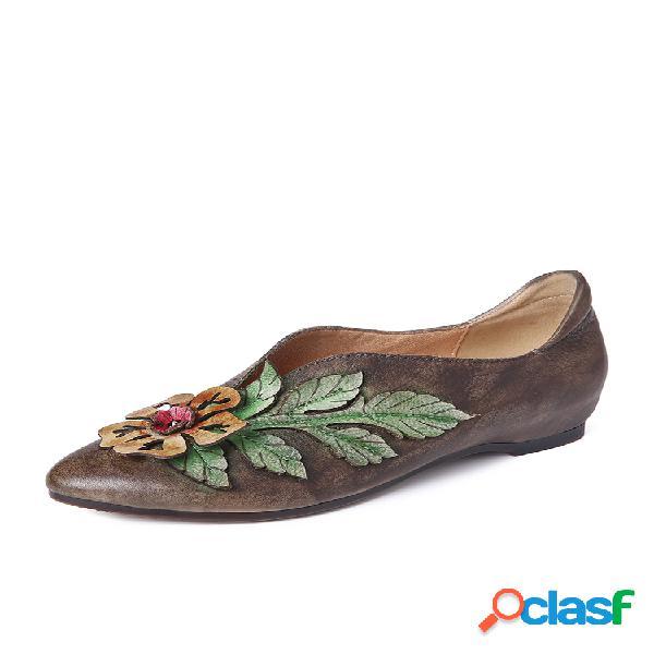Socofy retro rainforest empalme hojas florales elegantes zapatos irregulares con boca de cuero cómodos zapatos planos
