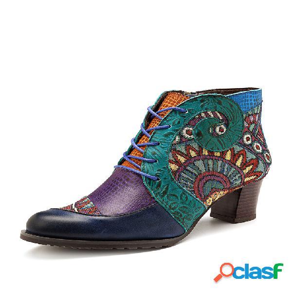 Socofy cowgirl piel genuina empalme cremallera a juego de colores cómodo cálido botas