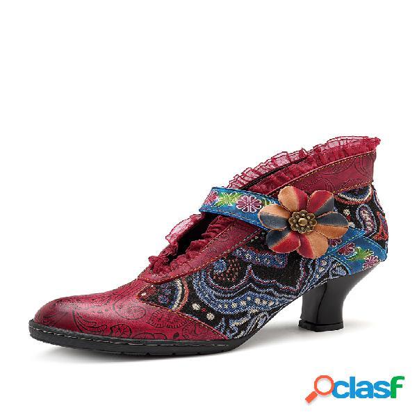 Socofy floral retro talón piel genuina empalme gancho bucle tobillo cómodo botas