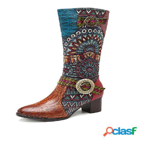 Socofy vendimia patrón piel genuina rodilla cómoda jacquard de empalme botas