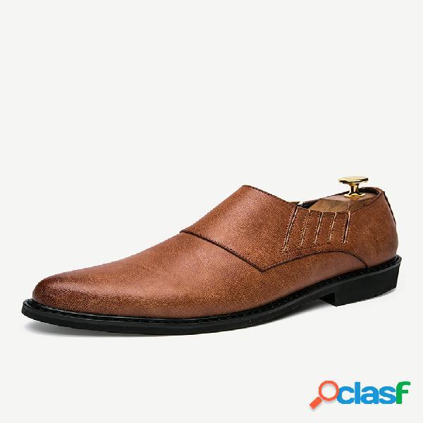 Zapatos formales casuales antideslizantes de cuero de color retro para hombres