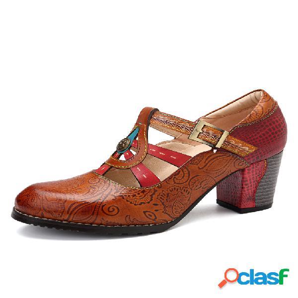 Socofy vendimia correa con hebilla piel genuina serpentinas de empalme soft zapatos de salón de tacón cuadrado con costuras
