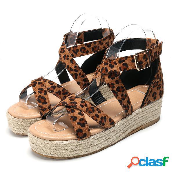 Mujeres retro casual leopard strappy buckle alpargatas plataforma sandalias