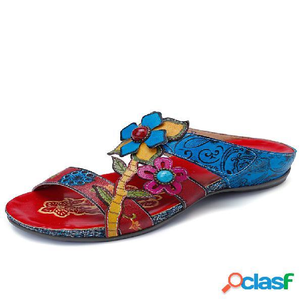 Socofy bohemia piel genuina empalme pintado a mano floral ajustable gancho lazo soft sandalias