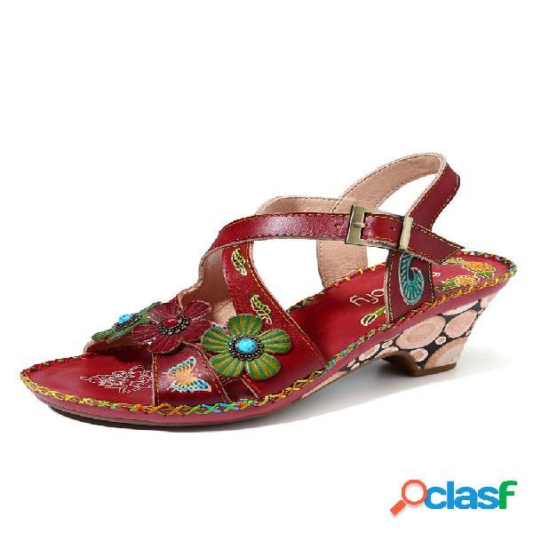 Socofy vendimia floral pintado a mano piel genuina costuras soft correa con hebilla sandalias