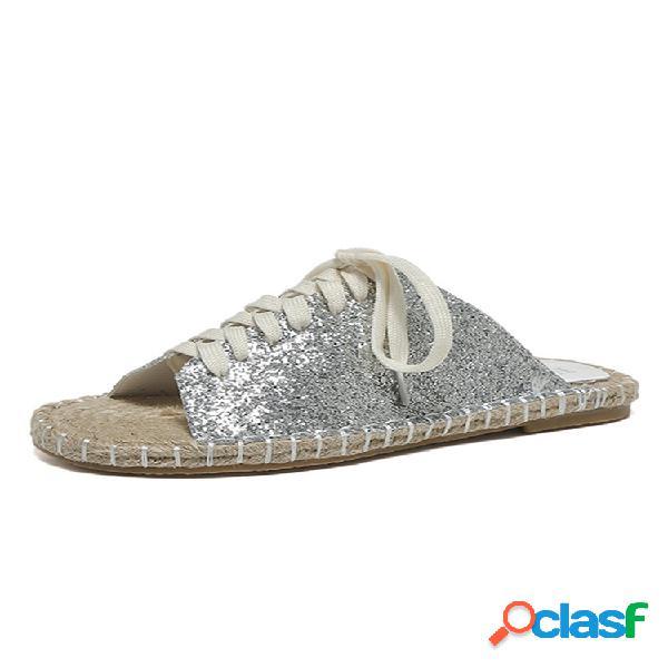 Tallas grandes mujer zapatos planos con cordones de color sólido con fondo de cáñamo zapatillas