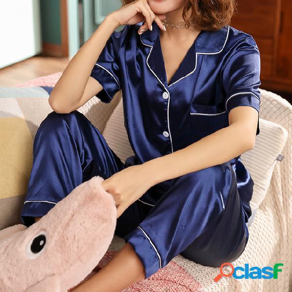 Temporada simulación pijamas de seda mujer pantalones de manga corta sección delgada seda de hielo servicio a domicilio señoras dulce traje de dos piezas