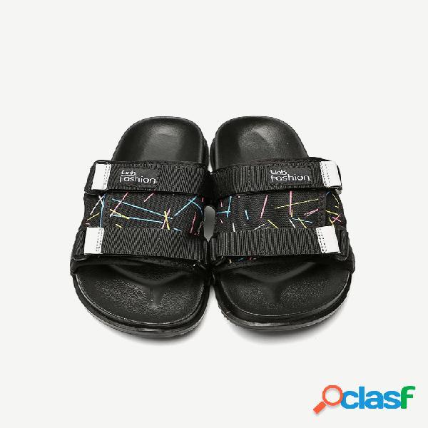 Zapatillas amantes playa hombres que usan soft zapatos de goma en la parte inferior arco iris se arrastra magia pegatinas cool hombre de gran tamaño