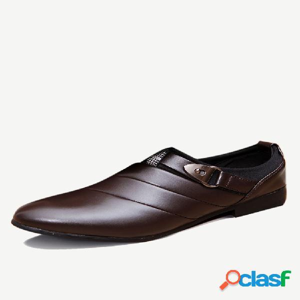 Zapatos formales de negocios con hebilla de metal de estilo británico para hombre