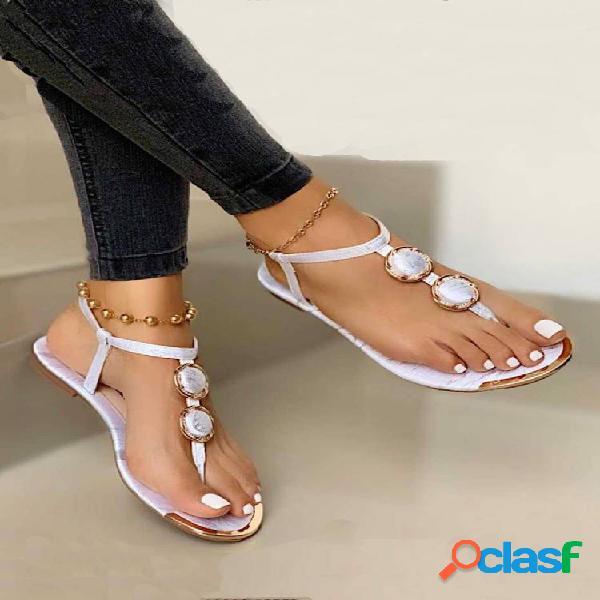 Tallas grandes mujer casual cuenta chanclas planas sandalias