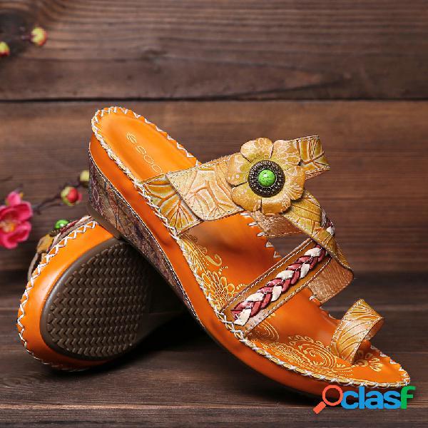 Socofy vendimia cuero hecho a mano con cuentas floral gancho slip on toe wedge sandalias