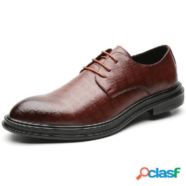 Hombres de microfibra de cuero en relieve antideslizante zapatos formales vestido