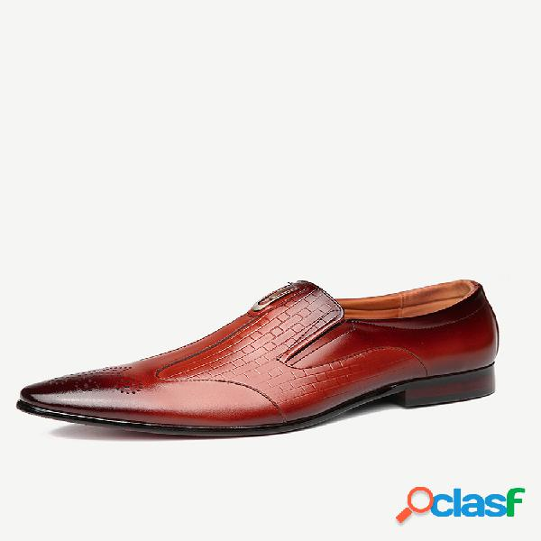 Menico hombre piel genuina zapatos formales informales sin cordones antideslizantes