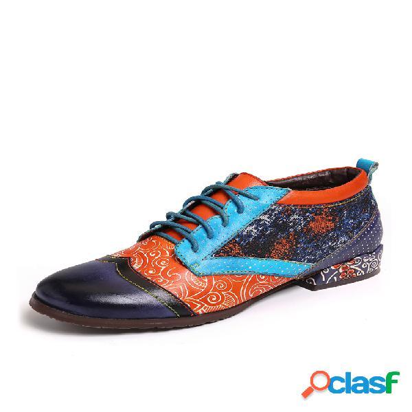 Socofy bohemian patrón spots colorful costuras piel genuina zapatos planos
