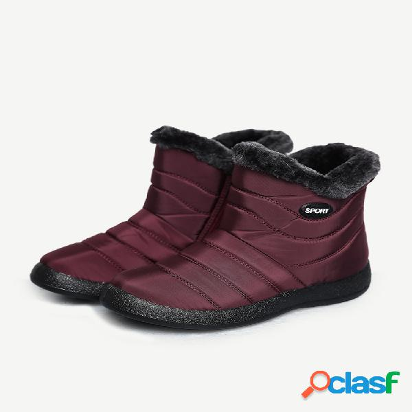 Tamaño grande mujer invierno antideslizante impermeable corto con cremallera forrado de felpa botas