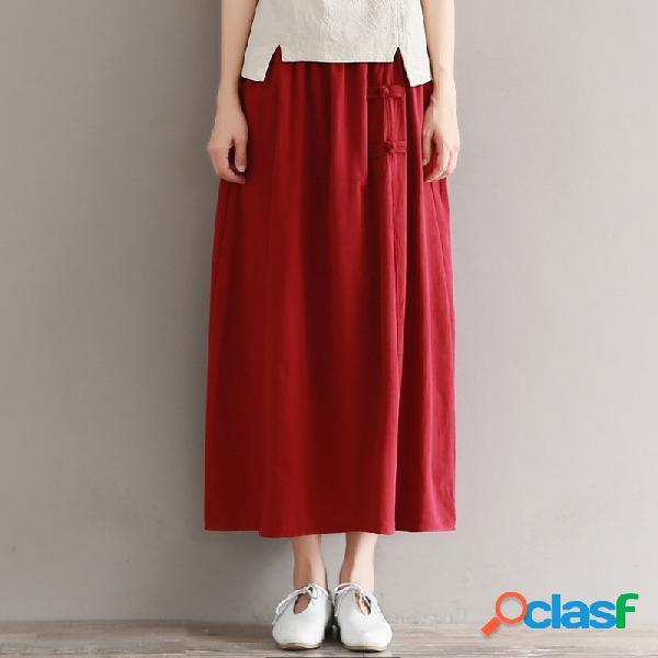 Retro costuras en color sólido algodón y lino hebilla cintura elástica una falda larga tipo