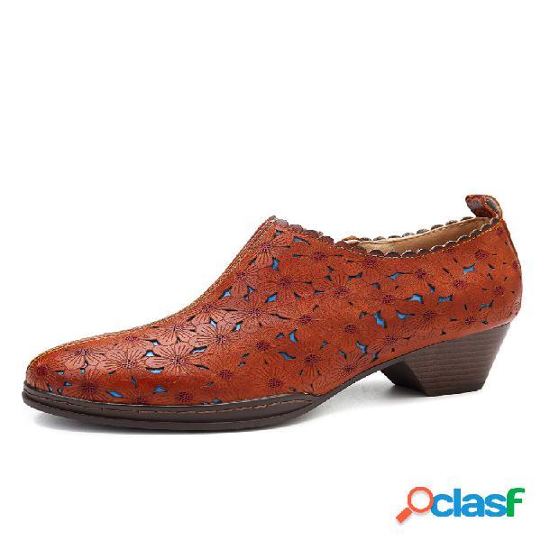 Socofy retro flowers patrón hollow piel genuina zapatos cómodos de tacón bajo con cremallera y costura