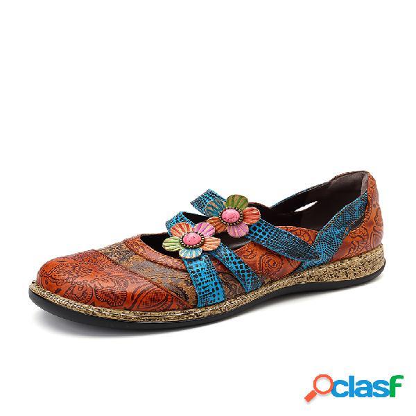 Socofy vendimia floral piel genuina empalme de colores banda costura gancho zapatos planos con lazo