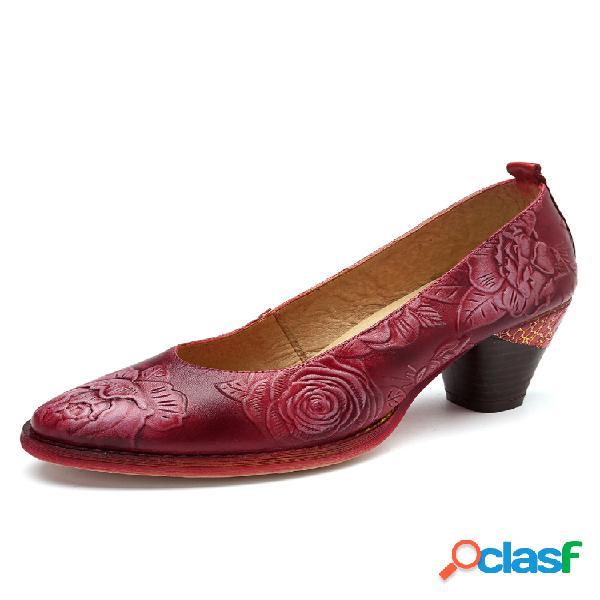 Socofy vendimia zapatos de tacón bajo informales con costura de dos colores de cuero de vaca en relieve pintado a mano