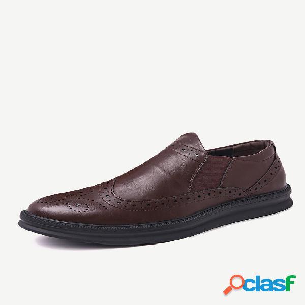 Zapatos formales casuales con paneles elásticos de cuero tallado antideslizantes para hombre