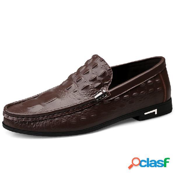 Hombres crocodile patrón piel genuina zapatos de conducción casuales antideslizantes sin cordones