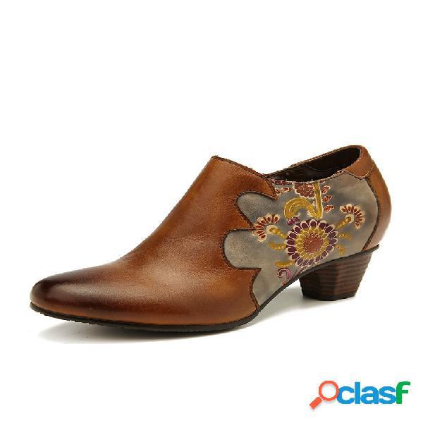 Socofy flores retro pintadas a mano patrón costuras piel genuina zapatos con cremallera