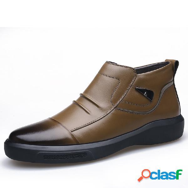 Hombres vendimia cómodo deslizamiento resistente al deslizamiento del dedo del pie redondo en el tobillo informal botas