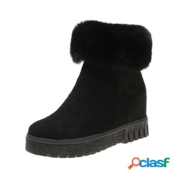 Mujer nieve cálida de tacón grueso botas