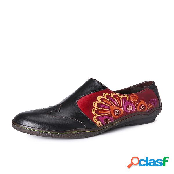 Socofy flor de fantasía con empalme retro patrón piel genuina zapatos planos informales sin cordones con cremallera