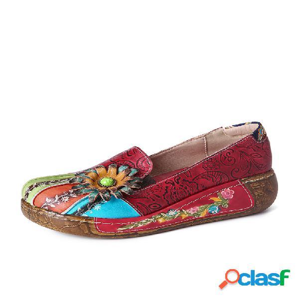 Socofy retro floral en relieve piel genuina zapatos casuales de fondo grueso sin cordones