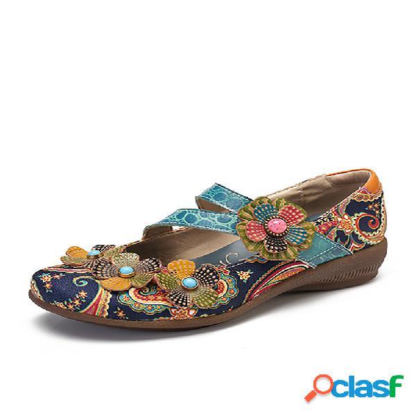 Socofy retro splicing floral folkways patrón piel genuina zapatos planos gancho loop