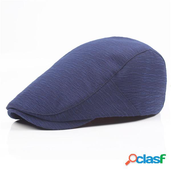 Hombres algodón color sólido casquillo de la boina hebilla ajustable papel boy cabbie golf caballero sombrero