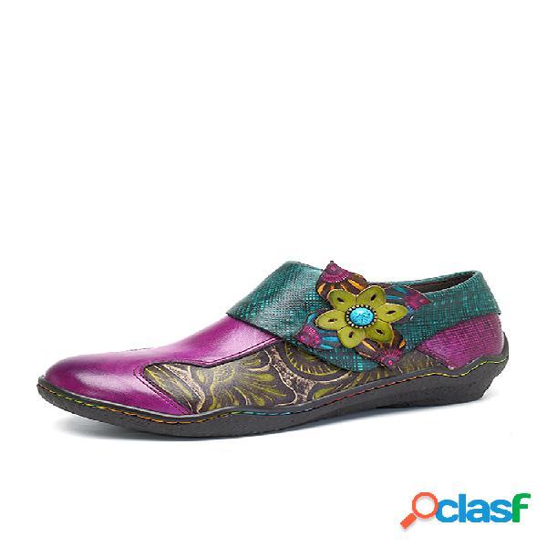 Socofy zapatos planos estampados de cuero de mosaico con velcro