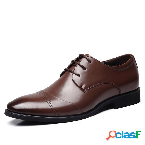 Zapatos de vestir formales del negocio del dedo del pie en punta de los hombres del tobillo clásico con cordones