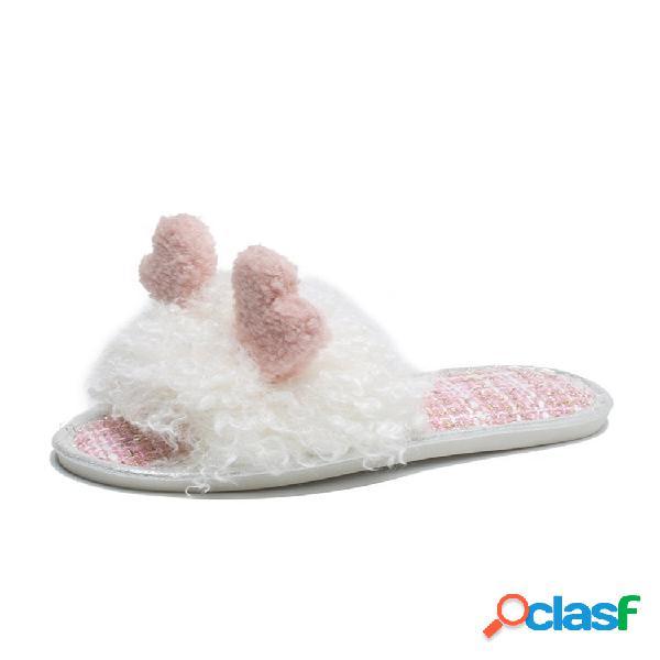 Mujeres casual cartoon decor plush home flat open toe zapatillas