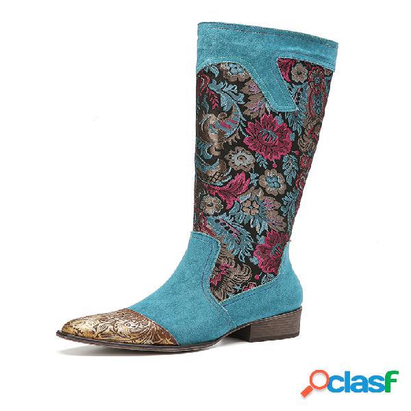 Socofy arbusto de flores empalme de tela con estampado floral piel genuina elegante informal a media pierna botas