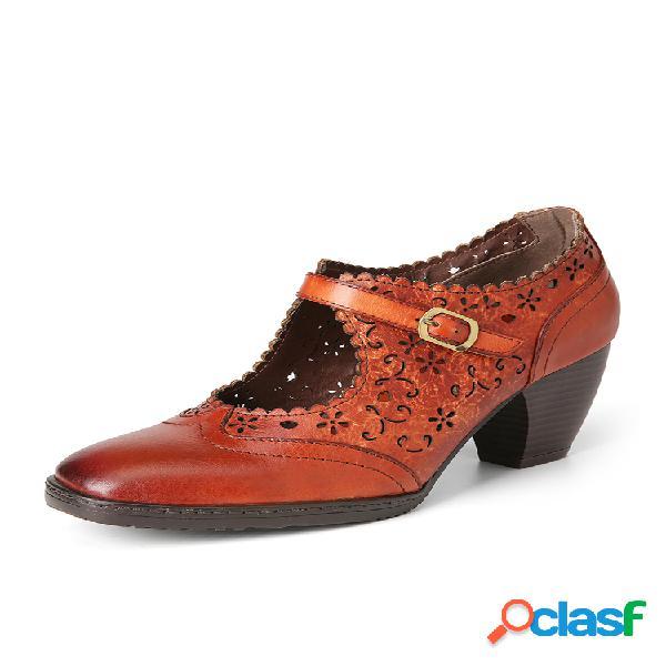 Socofy elegant hueco flowers piel genuina correa con hebilla gancho zapatos de tacón grueso con lazo