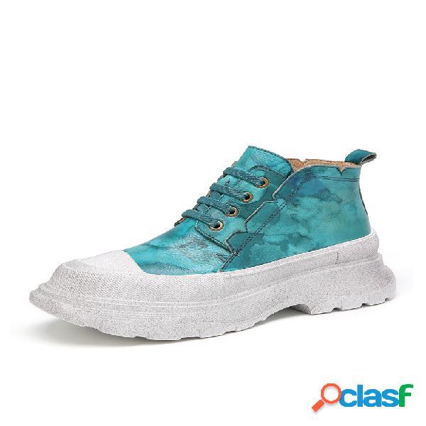 Socofy zapatos planos informales con plataforma con cordones y punta redonda de cuero con estampado tie dye zapatillas