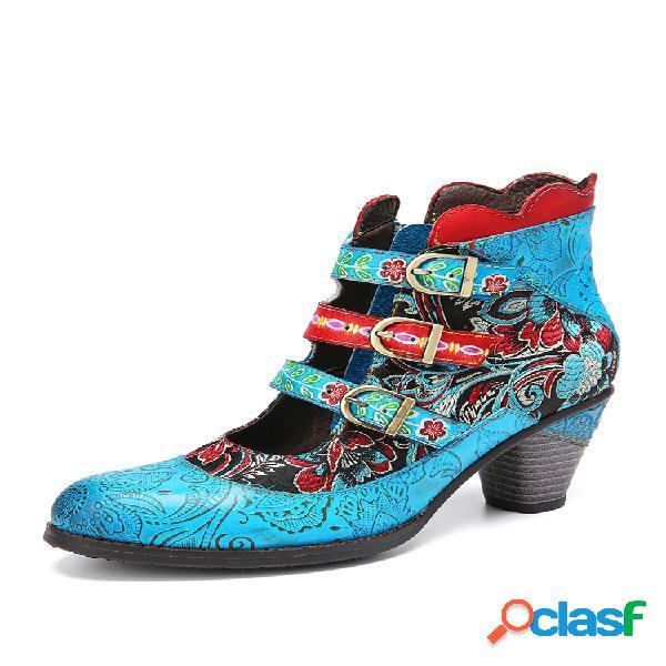 Socofy retro piel genuina bordado de flores empalme elegante hebilla de metal recorte corto de tacón grueso botas
