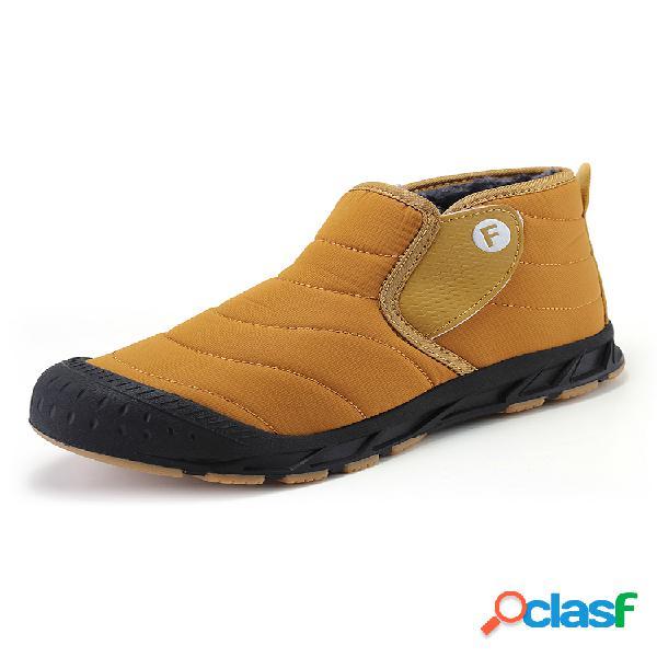 Cálido informal de gran tamaño para mujer impermeable color sólido gancho lazo de algodón para nieve botas
