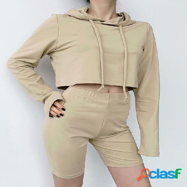 Pantalones cortos de suéter con capucha para mujer traje deportivo de ocio traje de dos piezas