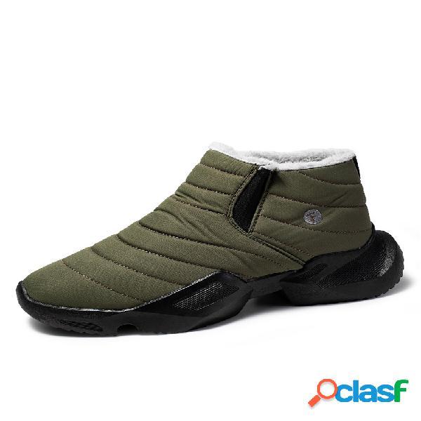 Hombre cálido antideslizante suela usable elástica sin cordones casual nieve tobillo grueso botas