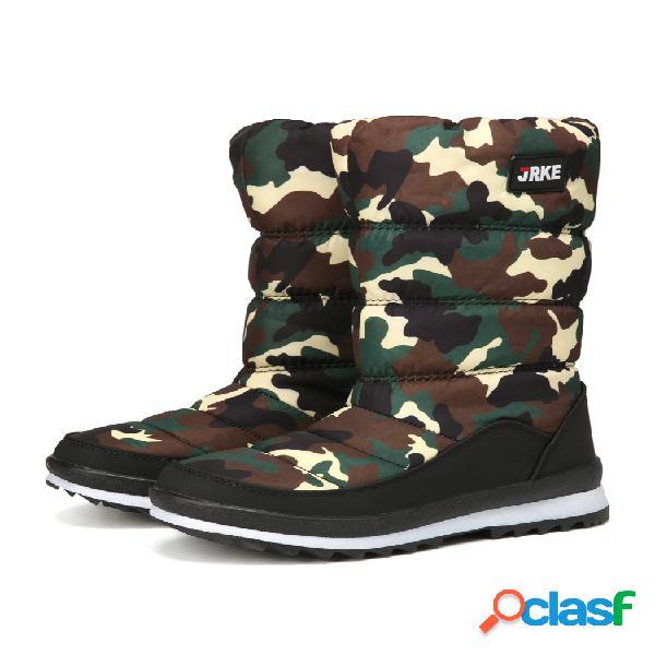 Mujer nieve botas casual cálido punta redonda media pantorrilla plano algodón botas