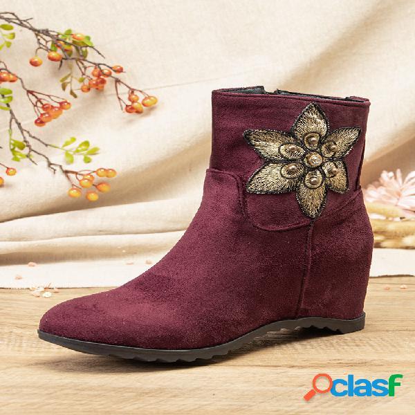 Mujeres color sólido flor de punta de almendra patrón decoración casual usable cálido plano corto botas