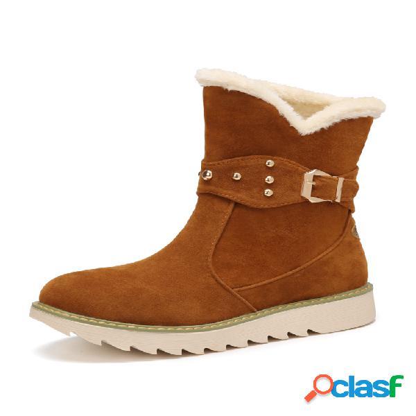 Mujeres de color sólido hebilla de gamuza casual cálido invierno nieve corto botas