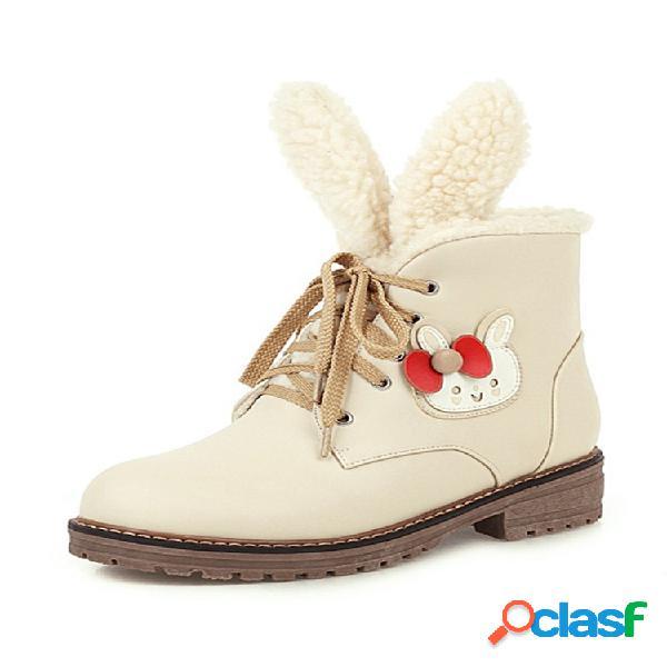 Mujeres de gran tamaño nieve botas casual cálido lindo orejas planas de algodón de becerro corto botas