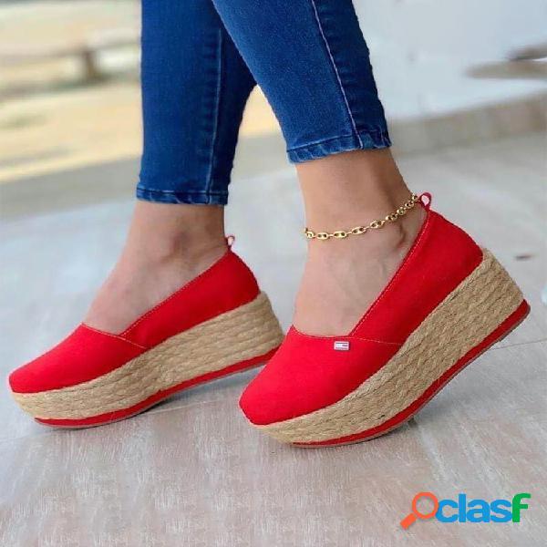 Tallas grandes mujer zapatos casuales de lona con plataforma y cuñas sin cordones