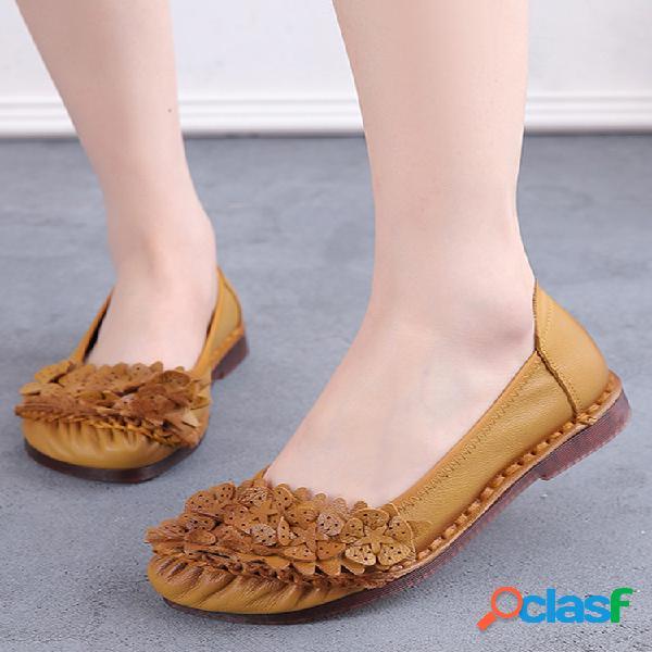 Zapatos de conducción planos con plisado floral de color sólido soft para mujer